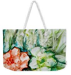 Floating Flowers 3 Weekender Tote Bag by Laurie Morgan