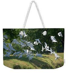 Flock Of Egrets In Flight Weekender Tote Bag