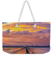 Flooded Field At Sunset Weekender Tote Bag