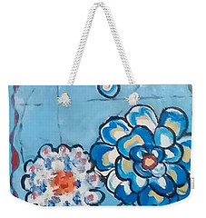 Floor Cloth Blue Flowers Weekender Tote Bag