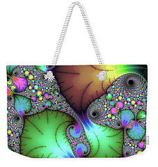 Weekender Tote Bag featuring the photograph Floral Abstract Fractal Art Green Gold Brown Purple by Matthias Hauser