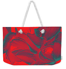 Floral Abstract In Dramatic Red Weekender Tote Bag
