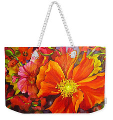 Weekender Tote Bag featuring the painting Floral Abundance by Chris Hobel