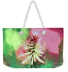 Weekender Tote Bag featuring the photograph Floral Art - Red Hot Poker by Kerri Farley