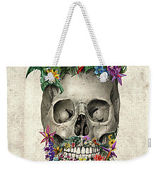 Floral Beard Skull Weekender Tote Bag by Bekim Art