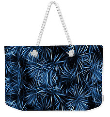 Weekender Tote Bag featuring the painting Floral Blue Abstract by David Dehner