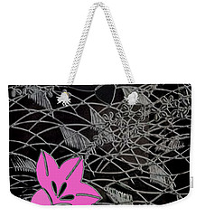 Weekender Tote Bag featuring the digital art Floral Chirimen by Asok Mukhopadhyay