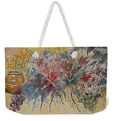 Weekender Tote Bag featuring the painting Floral Fantasy by Al Brown
