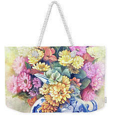 Weekender Tote Bag featuring the painting Floral Fusion by Marlene Book