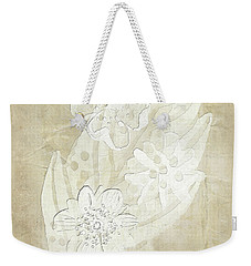 Weekender Tote Bag featuring the digital art Floral Imprints by Judy Hall-Folde