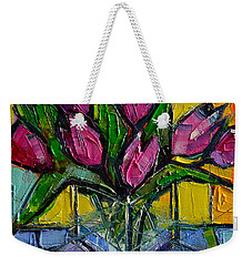 Floral Miniature - Abstract 0615 - Pink Tulips Weekender Tote Bag by Mona Edulesco