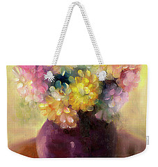 Weekender Tote Bag featuring the painting Floral Oil Sketch by Marlene Book
