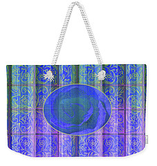 Floral Pattern And Design With Rose Center - Blue And Yellow Weekender Tote Bag by Brooks Garten Hauschild