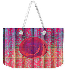Floral Pattern And Design With Rose Center - Red And Blue Weekender Tote Bag by Brooks Garten Hauschild