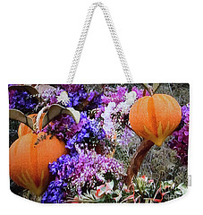 Floral Peaches Weekender Tote Bag by Linda Phelps