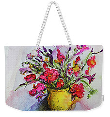 Weekender Tote Bag featuring the painting Floral Still Life 05 by Linde Townsend