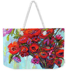Weekender Tote Bag featuring the painting Red Poppies In A Vase, Summer Floral Bouquet, Impressionistic Art by Patricia Awapara