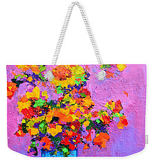 Floral Still Life - Flowers In A Vase Modern Impressionist Palette Knife Artwork Weekender Tote Bag