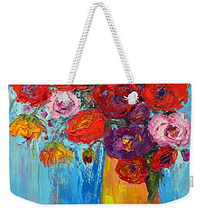 Weekender Tote Bag featuring the painting Wild Roses And Peonies, Original Impressionist Oil Painting by Patricia Awapara