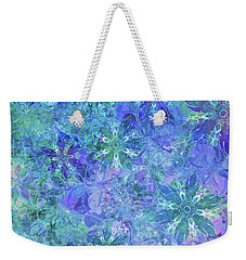 Floral Watercolor Blue Weekender Tote Bag