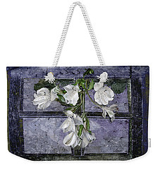 Weekender Tote Bag featuring the photograph Floral Window Frame by Bonnie Willis