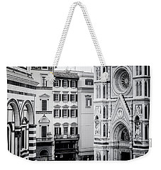 Weekender Tote Bag featuring the photograph Florence Italy View Bw by Joan Carroll