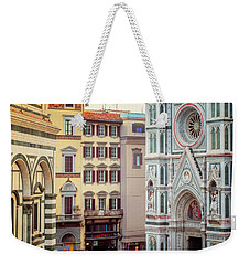 Weekender Tote Bag featuring the photograph Florence Italy View by Joan Carroll