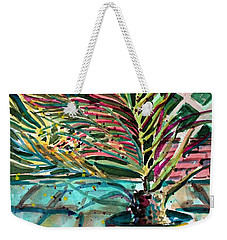 Weekender Tote Bag featuring the painting Florescent Palm by Mindy Newman