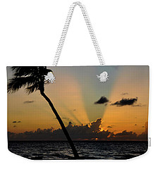 Weekender Tote Bag featuring the photograph Florida Sunrise Palm by Kelly Wade