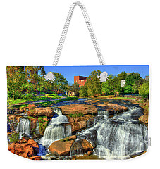Flow On Reedy River Falls Park Art Greenville Sc Weekender Tote Bag by Reid Callaway