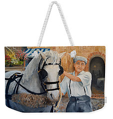 Weekender Tote Bag featuring the painting Flower Cart Man by Alan Lakin