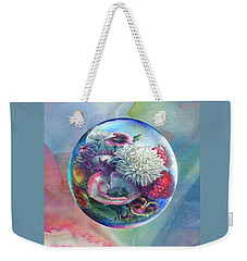 Weekender Tote Bag featuring the painting Flower Drop Blues by Robin Moline