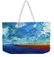 Weekender Tote Bag featuring the painting Flower Fields by Walter Fahmy