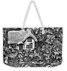 Flower Garden Cottage In Black And White Weekender Tote Bag