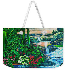 Weekender Tote Bag featuring the painting Flower Garden Ix by Michael Frank