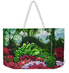 Weekender Tote Bag featuring the painting Flower Garden X by Michael Frank