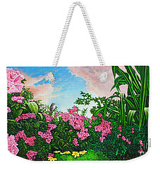 Weekender Tote Bag featuring the painting Flower Garden Xi by Michael Frank