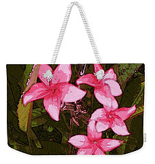 Weekender Tote Bag featuring the digital art Flower Gems by Winsome Gunning