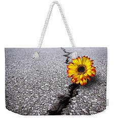 Flower In Asphalt Weekender Tote Bag by Carlos Caetano