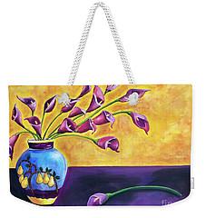 Flowers In Blue Vase Weekender Tote Bag
