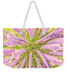 Weekender Tote Bag featuring the photograph Flower Interior, Wild Bergamot Or  Bee Balm by Jim Hughes