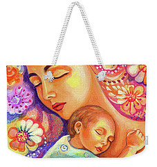Weekender Tote Bag featuring the painting Flower Nap by Eva Campbell
