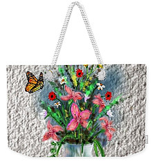 Weekender Tote Bag featuring the digital art Flower Study Three by Darren Cannell