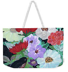 Weekender Tote Bag featuring the painting Floweret by Robin Maria Pedrero