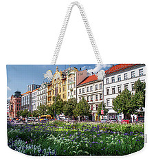 Weekender Tote Bag featuring the photograph Flowering Wenceslas Square In Prague by Jenny Rainbow