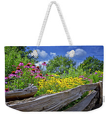 Flowers Along A Wooden Fence Weekender Tote Bag