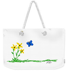 Flowers And A Butterfly Weekender Tote Bag by Joseph Ogle