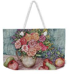 Flowers And Fruit Arrangement Weekender Tote Bag by Kim Tran