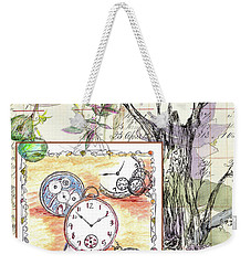 Weekender Tote Bag featuring the drawing Flowers And Time by Cathie Richardson