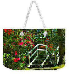 Flowers Bloom Alongside Magnolia Plantation Bridge - Charleston Sc Weekender Tote Bag